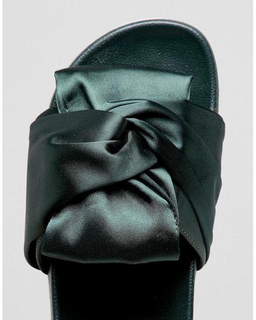 Noeud De Satin Vert Glamour Flatform Slide - Vert eF7RixA3