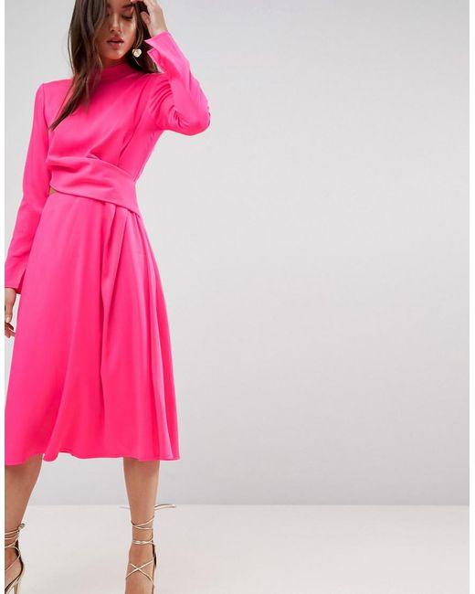 ASOS - Pink Asos Cut Out Midi Dress - Lyst