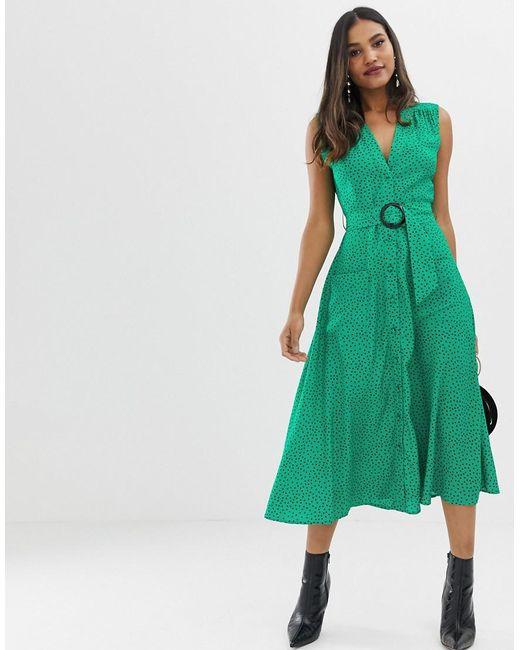 f5920469ab ASOS - Green Button Through Midi Dress With Belt In Spot Print - Lyst ...