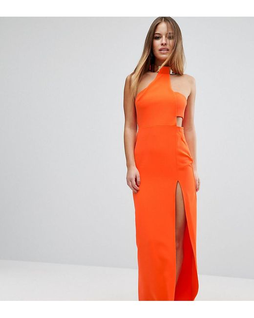 ASOS - Orange Gold Bar Halter Maxi Dress - Lyst