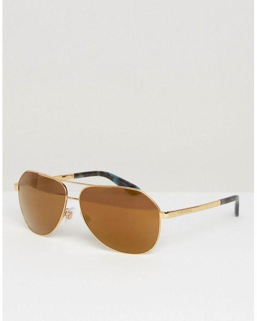 0bd35d207aaa Dolce   gabbana Aviator Sunglasses in Metallic for Men