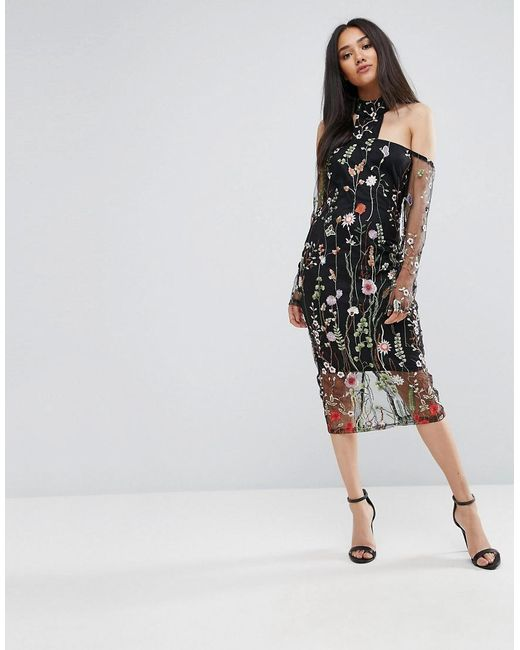 AX Paris - Black T-bar Long Sleeve Embroidered Floral Choker Dress With 3/4 Mesh Sleeves - Lyst