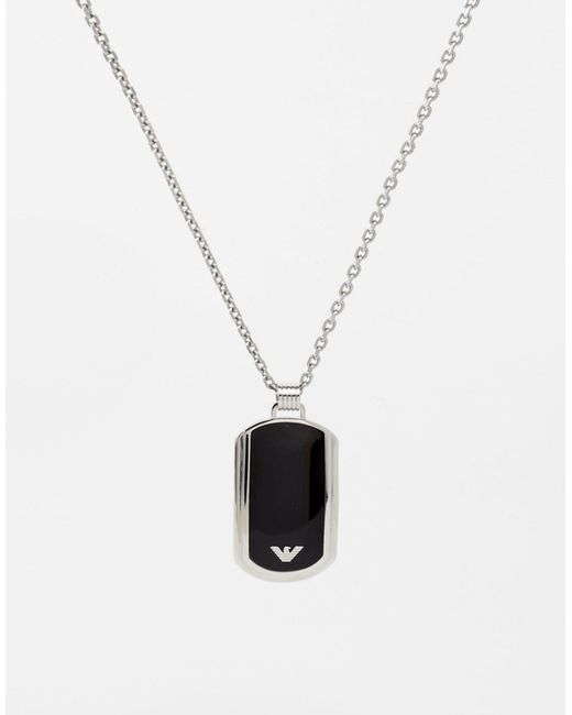 Emporio Armani   Black Dogtag Necklace for Men   Lyst