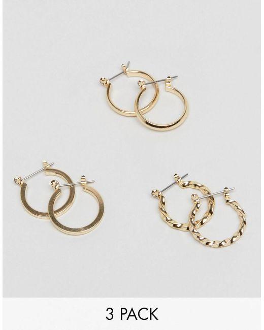 ASOS DESIGN - Metallic Pack Of 3 20mm Hoop Earrings In Gold - Lyst