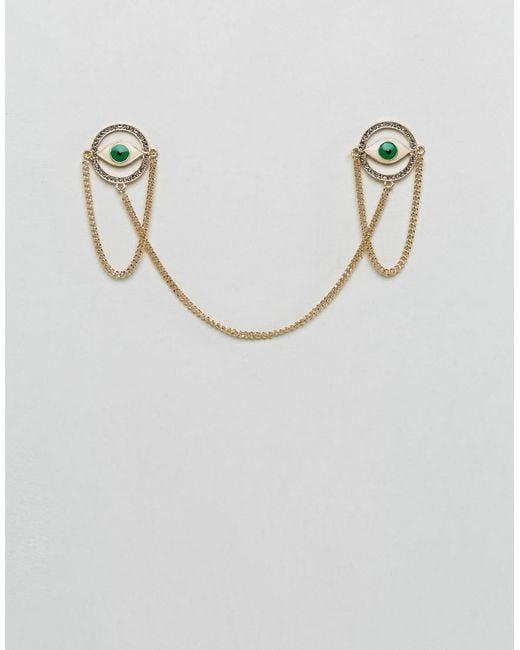 ASOS   Metallic Eye Collar Tips In Green for Men   Lyst