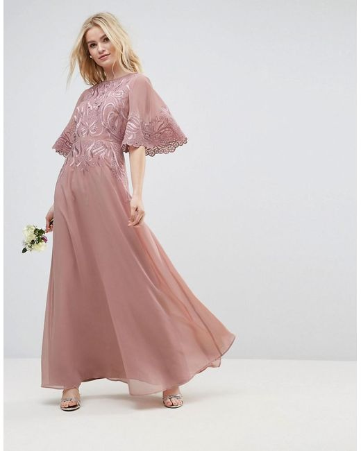 2338e44e7621 ASOS - Natural Lace Applique Flutter Sleeve Maxi Dress - Lyst ...