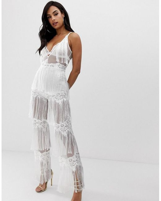 9d880eacef7 Lioness - Sleeveless Allover Lace Jumpsuit With Tassel Trims In White - Lyst  ...