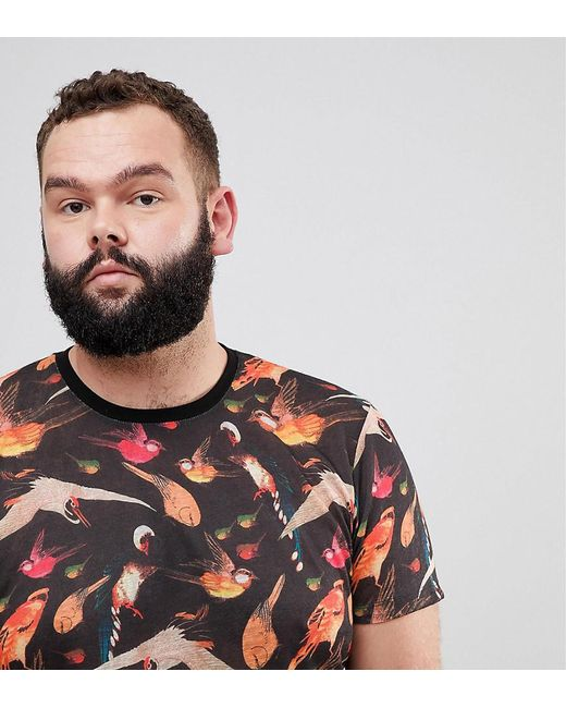 ASOS - Black Plus Super Longline T-shirt With Bird Floral Print And Curved Hem In Linen Look Fabric for Men - Lyst