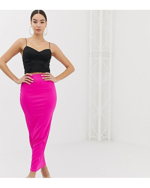 f9d2c37cd5d3e Boohoo Ribbed Maxi Skirt In Neon Pink in Pink - Lyst