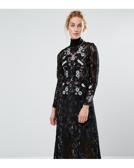 Lyst - Hope And Ivy Hope & Ivy Midi Dress In Lace And Embroidery in ...