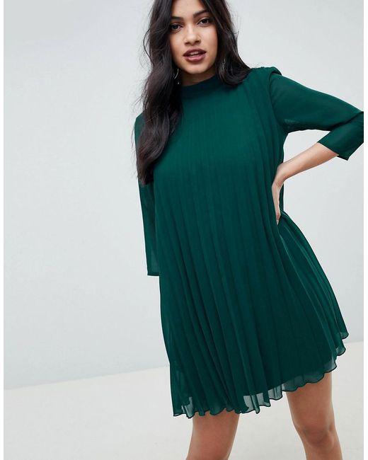 e806e9c7875 ASOS - Green Pleated Trapeze Mini Dress - Lyst ...