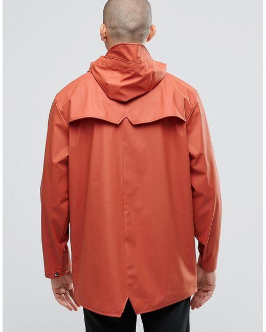 Rains Waterproof Short Jacket In Orange For Men