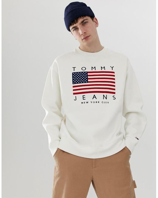 fc8a4f75a Tommy Hilfiger - Us Flag Capsule Logo Print Crew Neck Sweatshirt In White  for Men ...