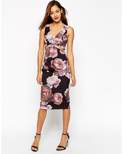 ASOS | Pink Dark Floral Soft Cut Out Pencil Dress | Lyst