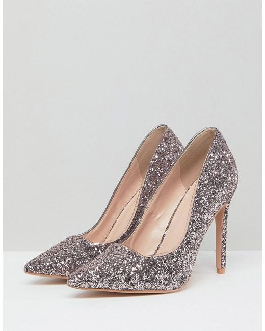 extremely for sale Public Desire Debbie Light Pink Glitter Court Shoes under $60 for sale 30GLjpQ
