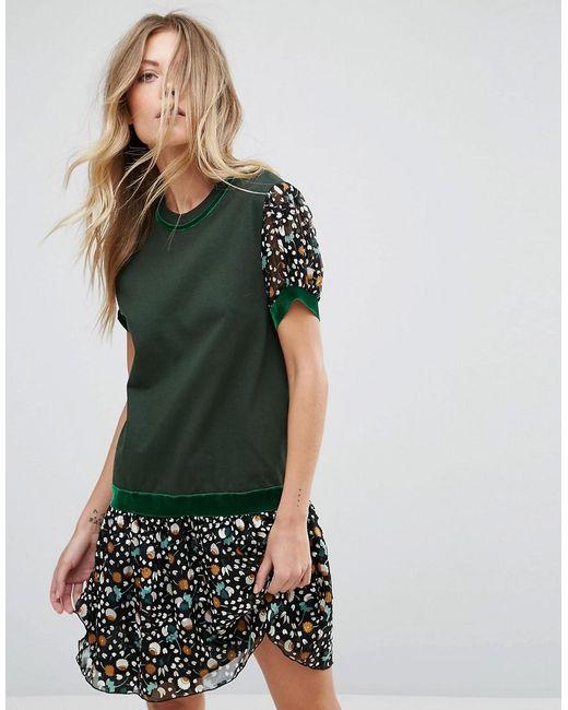 Anna Sui   Green Drop Waist Jersey Dress In Dandelion Medley Print   Lyst