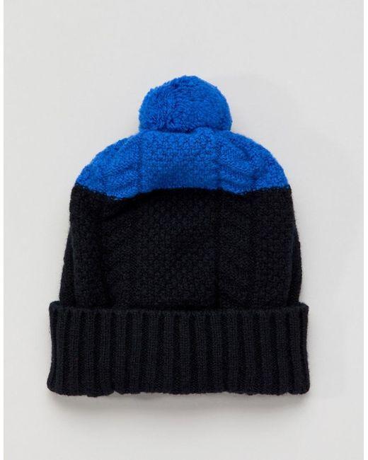 904cfdc7c53c2 Paul Smith Colour Block Wool Bobble Beanie In Black in Black for Men ...