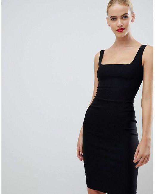 0ec9070554 Vesper Square Neck Pencil Dress In Black in Black - Lyst