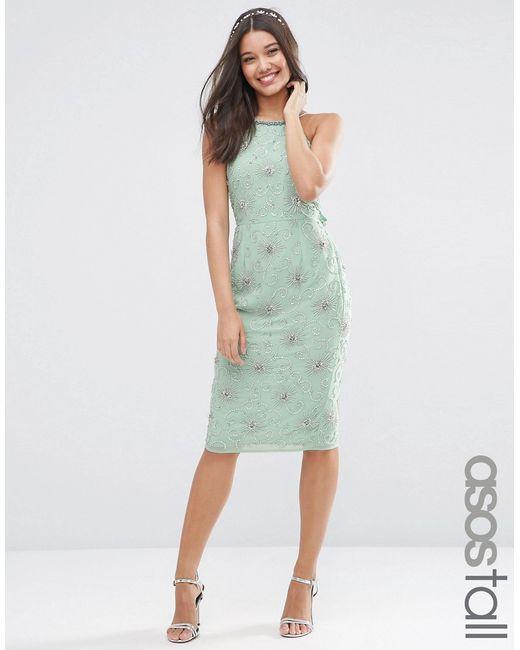 Asos wedding embellished drape back midi dress mint in for Mint wedding guest dress