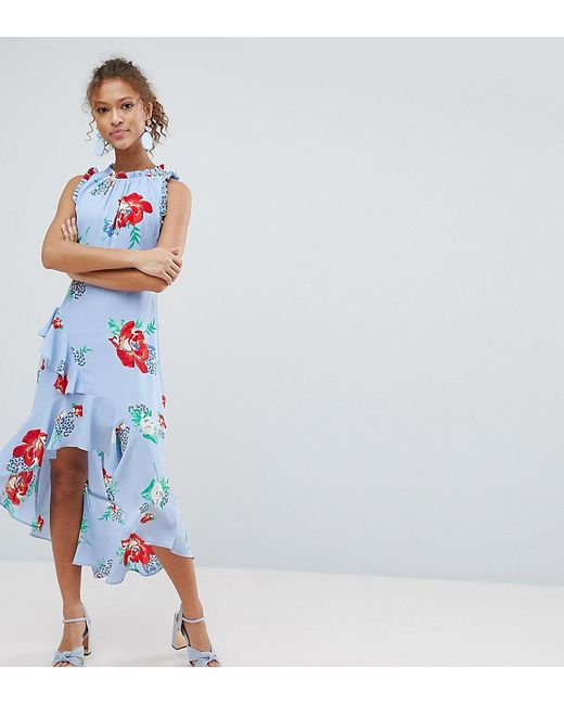 3885b422c401 Miss Selfridge - Blue Floral Print Ruffle Shoulder Midi Dress - Lyst ...