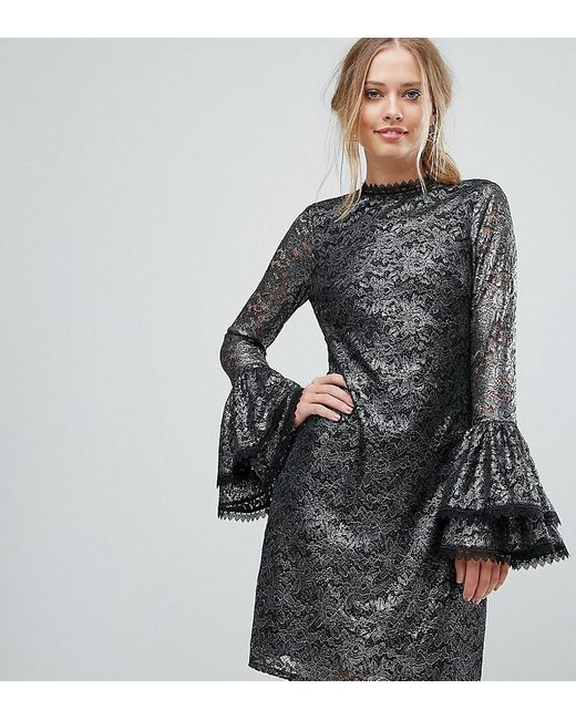 Metallic Cutwork Lace Swing Dress With Fluted Sleeve Detail - Silver Little Mistress wFJVAe