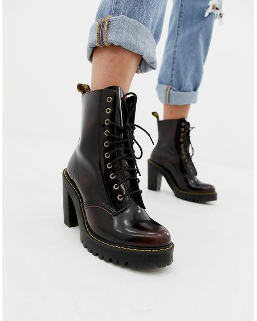 Dr. Martens - Red Kendra Cherry Leather Heeled Ankle Boots - Lyst