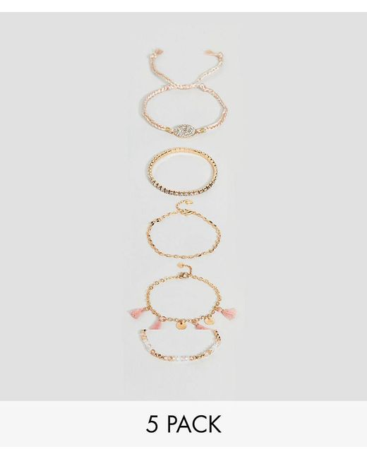 ALDO - Pink Multipack Friendship Bracelets With Tassels - Lyst