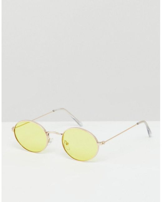 b34a467278 ASOS - Metallic Oval Sunglasses In Silver Metal With Yellow Lens for Men -  Lyst ...