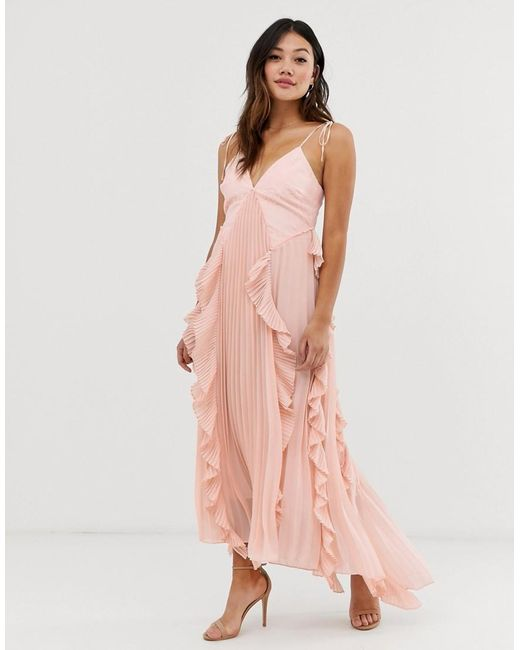 b6a11e6858e9 True Decadence - Pink Premium Cami Dress With Ruffle And Pleated Skirt In  Peach - Lyst ...