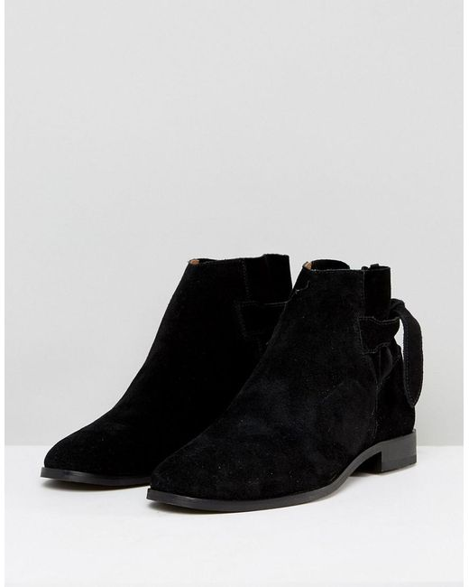Hudson London Aretha Suede Tie Back Flat Ankle Boots ggrGlQc