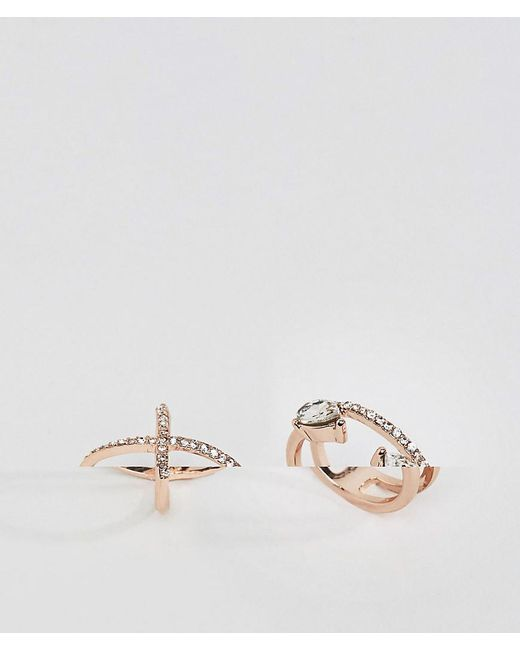 ASOS | Metallic Pack Of 2 Fine Crystal Kiss Ring Pack | Lyst