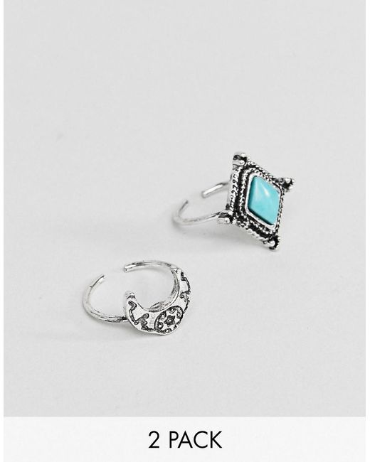 ASOS DESIGN - Metallic Pack Of 2 Engraved Stone And Moon Toe Rings - Lyst