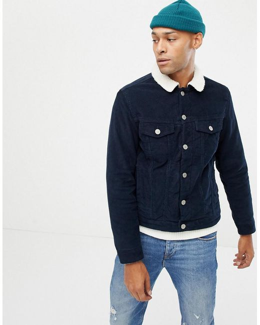 Jack   Jones - Blue Cord Jacket With Teddy Collar for Men - Lyst ... c71365884a14