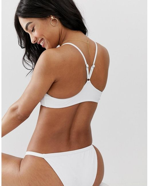d2d0a9fca2c ... South Beach - Exclusive Mix And Match Deep Scoop Bikini Top In White -  Lyst