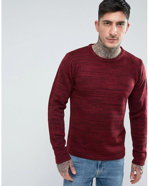 Another Influence | Red Melange Slouchy Knit Jumper for Men | Lyst