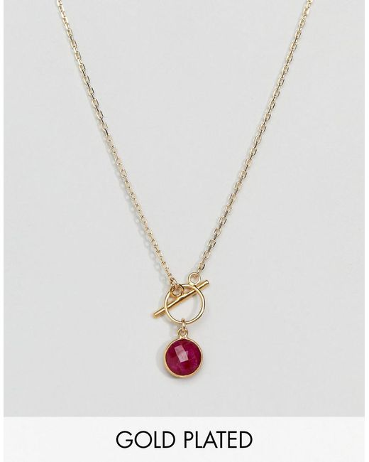 Dogeared | Metallic Gold Plated Because She's Fiery Ruby Bezel Gem Toggle Necklace | Lyst