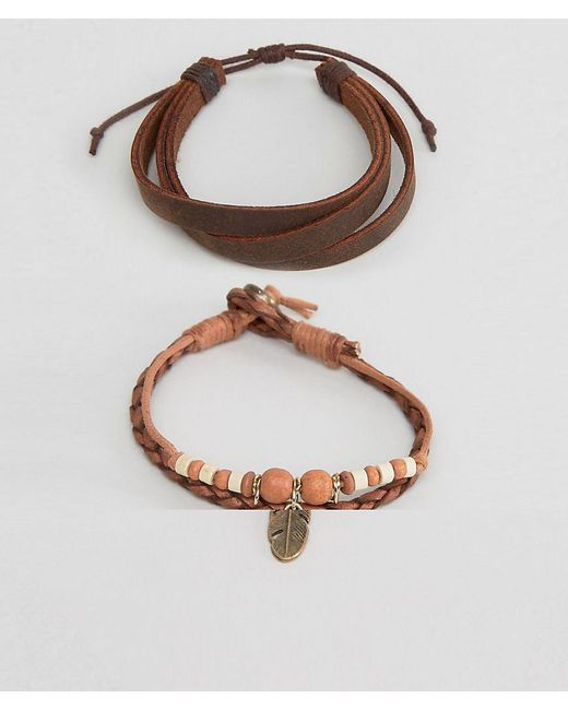 ASOS | Brown Leather Bracelet Pack In Tan With Feather Charm for Men | Lyst