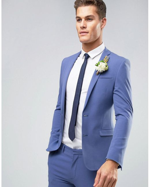 Lyst - Asos Wedding Super Skinny Suit Jacket In Deep Blue in Blue ...