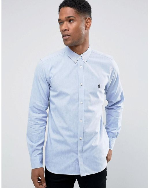 Lyst french connection oxford shirt in blue for men for French blue oxford shirt