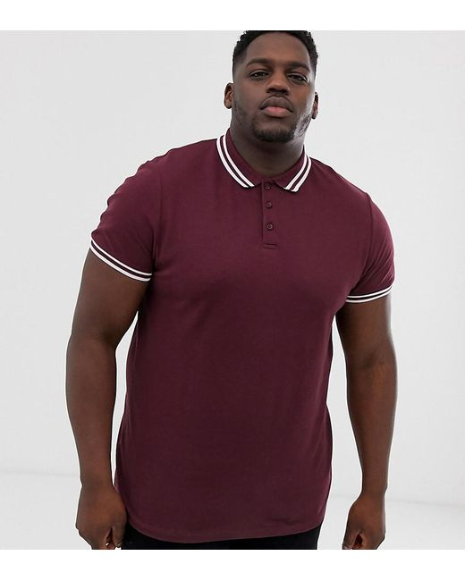 ef930694143d91 ASOS - Red Plus Tipped Pique Polo Shirt In Burgundy for Men - Lyst ...
