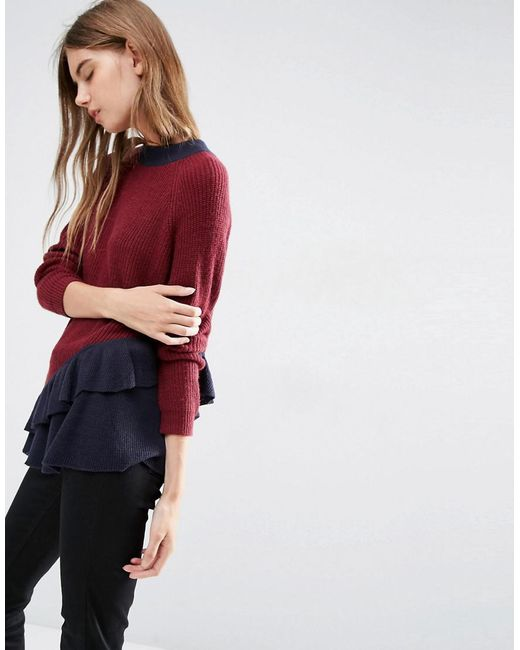 ASOS   Red Jumper With Contrast Ruffle Detail   Lyst