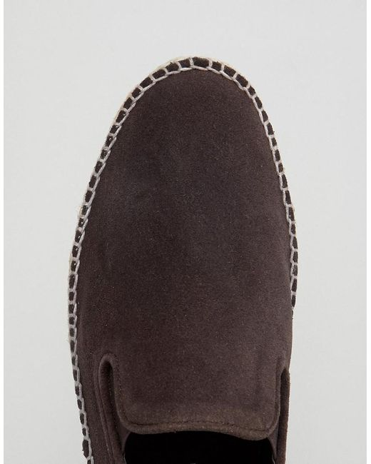 Wide Fit Slip On Espadrilles In Brown Suede - Brown Frank Wright moPBkuoZ