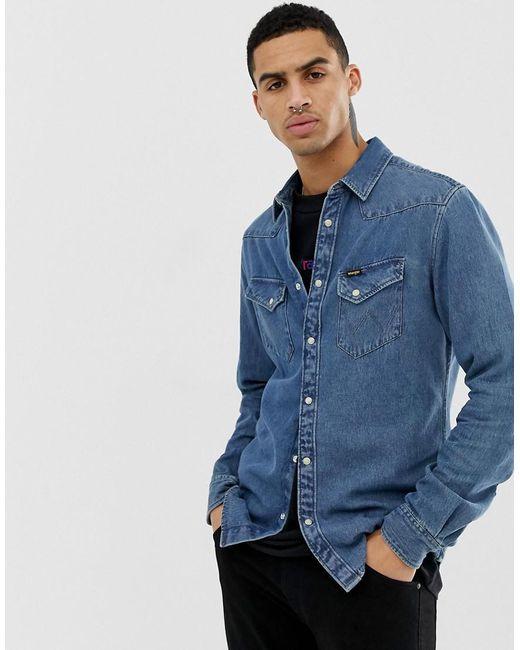 5a157213e3a Wrangler - Western Denim Shirt Slim Fit In Blue Indigo Mid Wash for Men -  Lyst ...