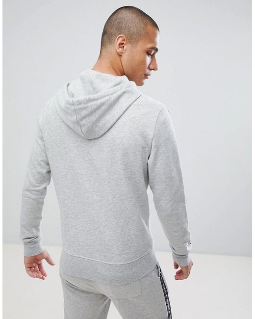 9ecbbc542f04 ... Tommy Hilfiger - Gray Authentic Full Zip Hoodie Side Logo Taping In  Grey Marl for Men