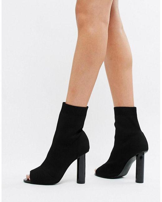 Public Desire - Hussle Black Stretch Peeptoe Heeled Sock Boots - Lyst