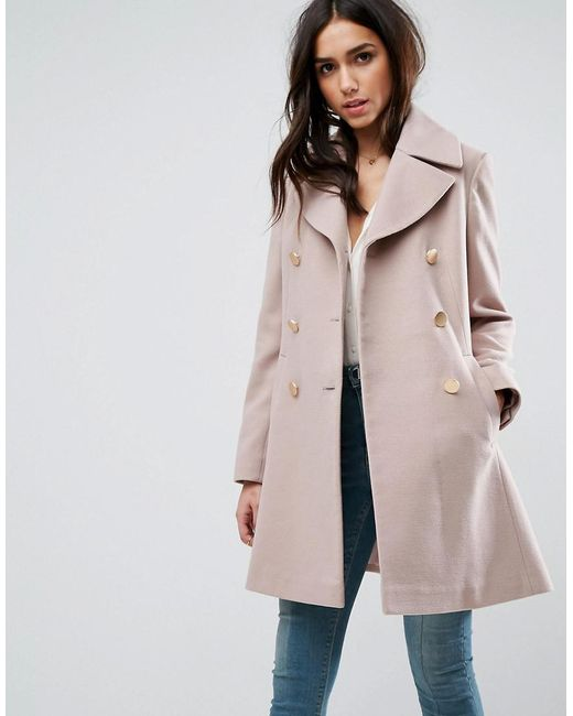 ASOS | Pink Swing Coat With Military Style Buttons | Lyst