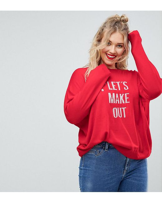 ASOS - Red Christmas Jumper With 'let's Make Out' Slogan - Lyst