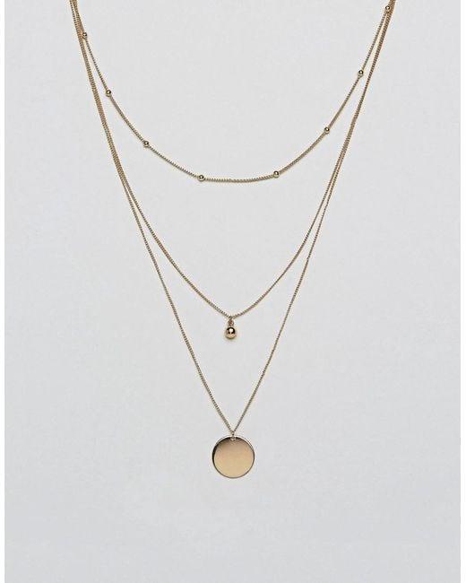 ASOS - Metallic Dot Dash And Disc Multirow Necklace - Lyst