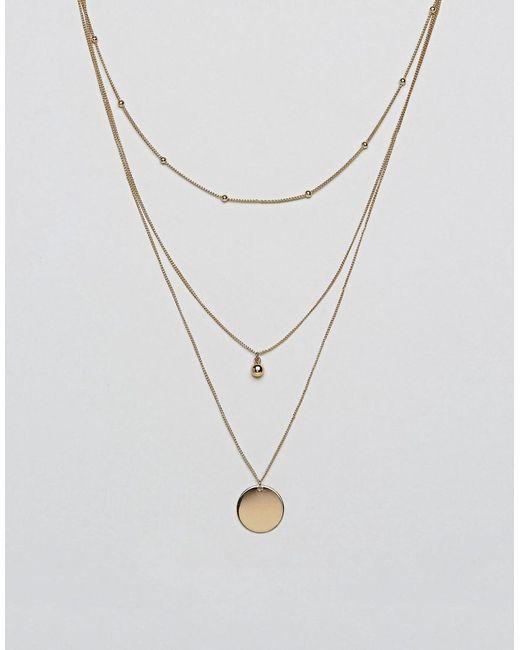 ASOS DESIGN - Metallic Dot Dash And Disc Multirow Necklace - Lyst