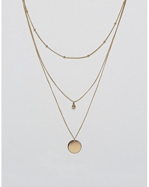 ASOS - Metallic Dot Dash And Disc Multirow Necklace - Lyst